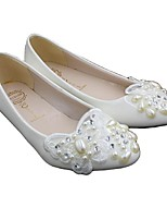 cheap -Women's Wedding Shoes Cone Heel Round Toe Sweet Wedding PU Rhinestone Flower Solid Colored White