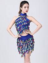 cheap -Belly Dance Latin Dance Skirts Gold Coin Tassel Ruching Women's Training Performance Sleeveless Natural Milk Fiber Polyester