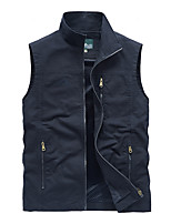 cheap -Men's Hiking Vest / Gilet Fishing Vest Sleeveless Vest / Gilet Top Outdoor Lightweight Breathable Quick Dry Sweat wicking Summer Cotton Solid Color Army Green Khaki Dark Blue Fishing Climbing Running