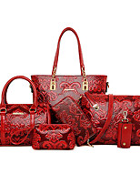 cheap -women 6 pcs reteo vintage embossed ethnic style bags