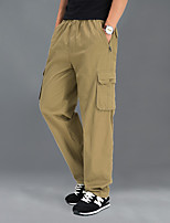 cheap -Men's Hiking Pants Trousers Hiking Cargo Pants Solid Color Winter Outdoor Regular Fit Anti-Slip Windproof Breathable Quick Dry Cotton Pants / Trousers Black Army Green Grey Khaki Fishing Climbing