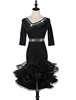 cheap -Latin Dance Dress Cascading Ruffles Crystals / Rhinestones Women's Training Performance 3/4 Length Sleeve Natural Elastane
