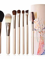 cheap -Travel Makeup Brush Set, 7 Support Professional Foundation Brush Eyeshadow Brush Eyebrow Brush Blush Brush with Other Makeup Brush-Barrel