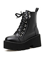cheap -Women's Boots Wedge Heel Round Toe Booties Ankle Boots Classic Daily Leather Solid Colored Black / Booties / Ankle Boots