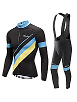cheap -Men's Long Sleeve Cycling Jersey with Bib Tights Winter Elastane Black Bike Sports Clothing Apparel