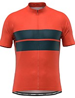 cheap -21Grams Men's Short Sleeve Cycling Jersey Red Stripes Bike Top Mountain Bike MTB Road Bike Cycling Breathable Sports Clothing Apparel / Stretchy / Athletic