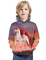cheap -Kids Boys' Hoodie & Sweatshirt Horse Graphic 3D Animal Print Long Sleeve Active Rainbow