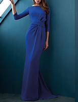 cheap -Mermaid / Trumpet Minimalist Elegant Wedding Guest Formal Evening Dress Boat Neck 3/4 Length Sleeve Sweep / Brush Train Stretch Satin with Sleek 2021