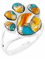 cheap -Dog Paw Sterling Silver Genuine Spiny Turquoise Ring (Spiny Turquoise, 9)