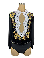 cheap -21Grams Figure Skating Top Men's Boys' Ice Skating Top Black Spandex High Elasticity Training Competition Skating Wear Crystal / Rhinestone Long Sleeve Ice Skating Figure Skating / Kids