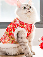 cheap -Dog Cat Coat cheongsam Flower Fashion Chinoiserie Cute Casual / Daily Spring Festival Winter Dog Clothes Puppy Clothes Dog Outfits Breathable Red Pink Costume for Girl and Boy Dog Coral Fleece Cotton