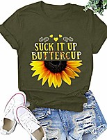 cheap -Women's Cute Summer Sunflower T Shirts Vintage Funny Short Sleeve Graphic Cotton Tees Tops for Teen Girls Green