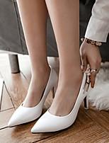 cheap -Women's Wedding Shoes Stiletto Heel Pointed Toe Wedding Daily PU Synthetics Almond White Black