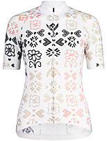 cheap -Women's Half Sleeve Cycling Jersey White Floral Botanical Bike Top Mountain Bike MTB Road Bike Cycling Breathable Quick Dry Sports Clothing Apparel / Stretchy / Athleisure
