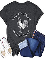 cheap -Women The Chicken Whisper T-Shirt Funny Chicken Graphic Tops Casual Short Sleeve Tee Tops (Grey, M)