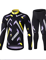 cheap -Men's Long Sleeve Cycling Jersey with Tights Winter Elastane Golden+Black Black / Blue Bike Sports Clothing Apparel