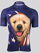 cheap -Men's Short Sleeve Cycling Jersey Dark Navy Dog Bike Top Mountain Bike MTB Road Bike Cycling Breathable Sports Clothing Apparel / Stretchy / Athletic