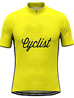 cheap -21Grams Men's Short Sleeve Cycling Jersey Yellow Orange Green Bike Top Mountain Bike MTB Road Bike Cycling Breathable Sports Clothing Apparel / Stretchy / Athletic