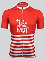 cheap -Men's Short Sleeve Cycling Jersey Red Stripes Bike Top Mountain Bike MTB Road Bike Cycling Breathable Sports Clothing Apparel / Stretchy / Athletic