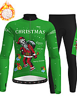cheap -21Grams Men's Long Sleeve Cycling Jersey with Tights Winter Fleece Polyester Red Dark Green Orange Skull Christmas Santa Claus Bike Clothing Suit Thermal Warm Fleece Lining Breathable 3D Pad Warm