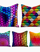 cheap -cushion cover 5pc linen soft decorative square throw pillow cover cushion case pillowcase for sofa bedroom 45 x 45 cm (18 x 18 inch) superior quality machine washable colorful
