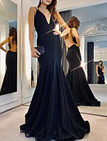 cheap -Mermaid / Trumpet Beautiful Back Sexy Wedding Guest Formal Evening Dress V Neck Sleeveless Floor Length Jersey with Sleek 2020