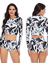 cheap -Women's Rashguard Swimsuit Elastane Swimwear Breathable Quick Dry Long Sleeve 2 Piece - Swimming Surfing Water Sports Painting Autumn / Fall Spring Summer