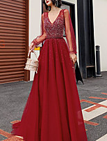 cheap -A-Line Beautiful Back Sparkle Engagement Formal Evening Dress V Neck Long Sleeve Floor Length Tulle with Pleats Sequin 2021