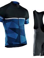 cheap -Men's Short Sleeve Cycling Jersey with Bib Shorts Elastane Black / Blue Bike Sports Clothing Apparel