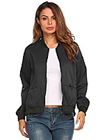 cheap -Women's Windbreaker Lightweighted Stylish Long Sleeve Bomber Jacket Black S
