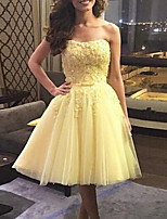 cheap -A-Line Flirty Elegant Homecoming Cocktail Party Dress Strapless Sleeveless Knee Length Tulle with Pleats 2021