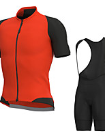 cheap -Men's Short Sleeve Cycling Jersey with Bib Shorts Elastane Black / Orange Bike Sports Clothing Apparel
