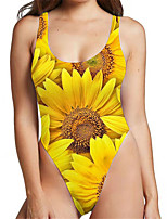 cheap -Women's New Sexy Cute Monokini Swimsuit Floral Tummy Control Print Bodysuit Normal Strap Swimwear Bathing Suits Yellow / One Piece / Party