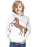 cheap -Kids Boys' Hoodie & Sweatshirt Horse Graphic 3D Animal Print Long Sleeve Active White