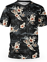 cheap -Men's Short Sleeve Downhill Jersey Black Floral Botanical Bike Top Mountain Bike MTB Road Bike Cycling Breathable Sports Clothing Apparel / Stretchy / Athletic