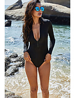 cheap -Women's New Casual Sports Rash Guard Swimsuit Solid Color Zipper Slim Padded Normal Plunge Swimwear Bathing Suits Black / One Piece