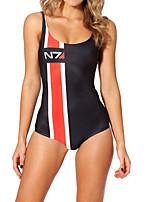 cheap -Women's New Classic Modern Monokini Swimsuit Color Block Letter Open Back Slim Print Bodysuit Normal Strap Swimwear Bathing Suits Black / One Piece