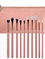 cheap -Powder Liquified Cream Blending Brushes Set with Leather Bag-Pink, Foundation, Eyebrow, Concealer, Eye Shadow, 12 PCS Professional Eye Makeup Brush Set (Color : Pink)