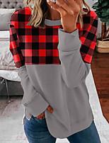 cheap -Women's Sweatshirt Pullover Plaid Checkered Print Crew Neck Daily Sports Active Streetwear Hoodies Sweatshirts  Army Green Light gray Dark Gray