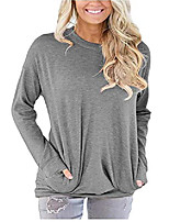 cheap -Women's Sweatshirt with Pockets Long Sleeve Crew Neck T Shirt Pullover Tunic Tops Gray XX-Large