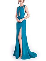 cheap -Sheath / Column Beautiful Back Sexy Engagement Formal Evening Dress Jewel Neck Sleeveless Sweep / Brush Train Stretch Satin with Split 2021