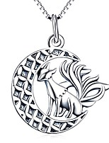 """cheap -fox pendant necklace, sterling silver nine tail fox moon necklace jewelry gifts for women,girls, unisex 18"""" (oxidized fox necklace)"""