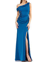 cheap -Mermaid / Trumpet Sexy Floral Wedding Guest Formal Evening Dress One Shoulder Sleeveless Floor Length Satin with Split Appliques 2021