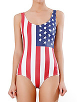 cheap -Women's New Fashion Lady Monokini Swimsuit Color Block Flag Tummy Control Open Back Slim Bodysuit Normal Strap Swimwear Bathing Suits Red / One Piece / Party / Print