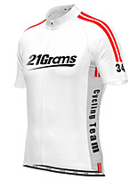cheap -21Grams Men's Short Sleeve Cycling Jersey White Black Stripes Bike Top Mountain Bike MTB Road Bike Cycling Breathable Sports Clothing Apparel / Stretchy / Athletic