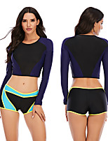 cheap -Women's Rashguard Swimsuit Elastane Swimwear Breathable Quick Dry Long Sleeve 2 Piece - Swimming Surfing Water Sports Patchwork Autumn / Fall Spring Summer
