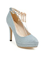 cheap -Women's Wedding Shoes Stiletto Heel Pointed Toe Wedding Daily PU Synthetics Blue Pink Gold