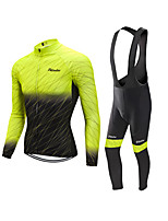 cheap -Men's Long Sleeve Cycling Jersey with Bib Tights Cycling Jersey with Tights Winter Elastane Black / Yellow Bike Sports Clothing Apparel
