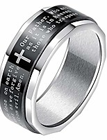 cheap -8mm unisex's stainless steel jesus christian bibles cross spins ring for anxiety 7