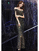 cheap -Mermaid / Trumpet Sparkle Sexy Wedding Guest Formal Evening Dress Off Shoulder Short Sleeve Floor Length Sequined with Sequin Tassel 2020